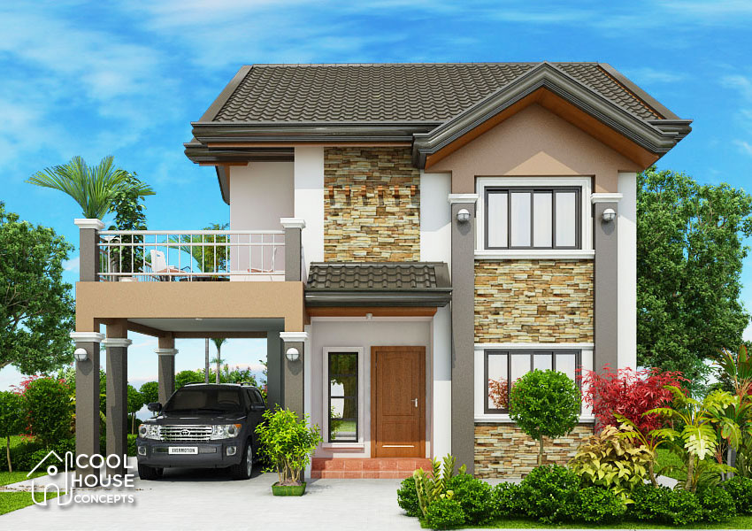 two storey house design FRONT VIEW
