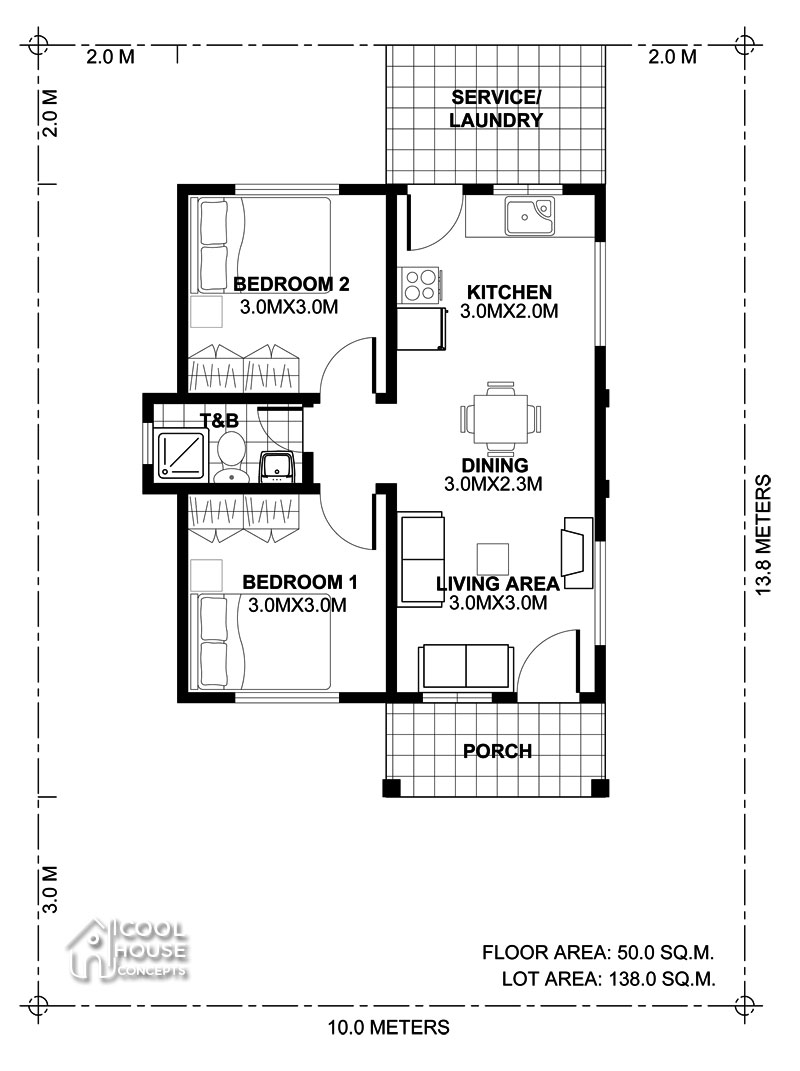 Tiny House Plan with 2 Bedrooms - Cool House Concepts