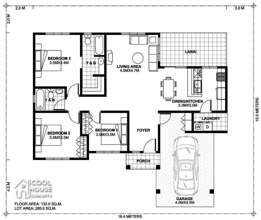 Three bedroom Cool House Concept