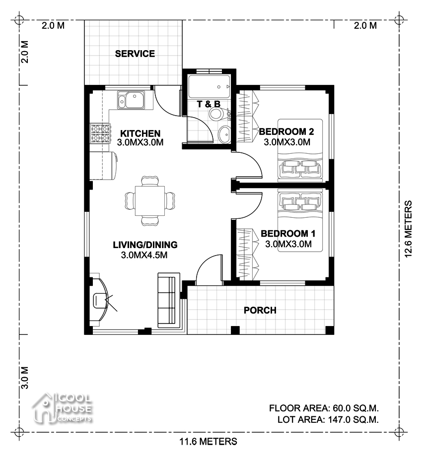 two bedroom small house plan layout