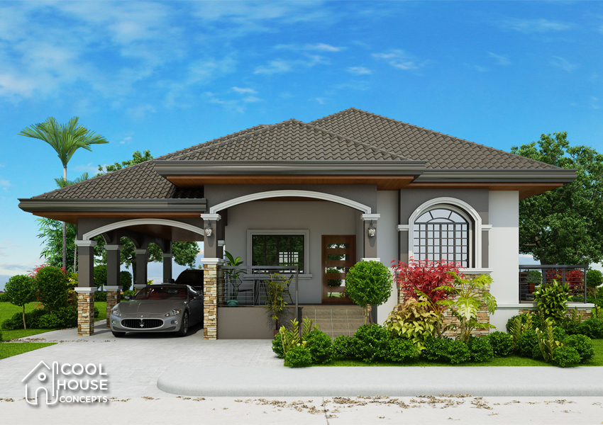 one storey home plan perspective view