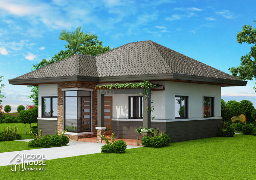 two bedroom small house plan right elevation