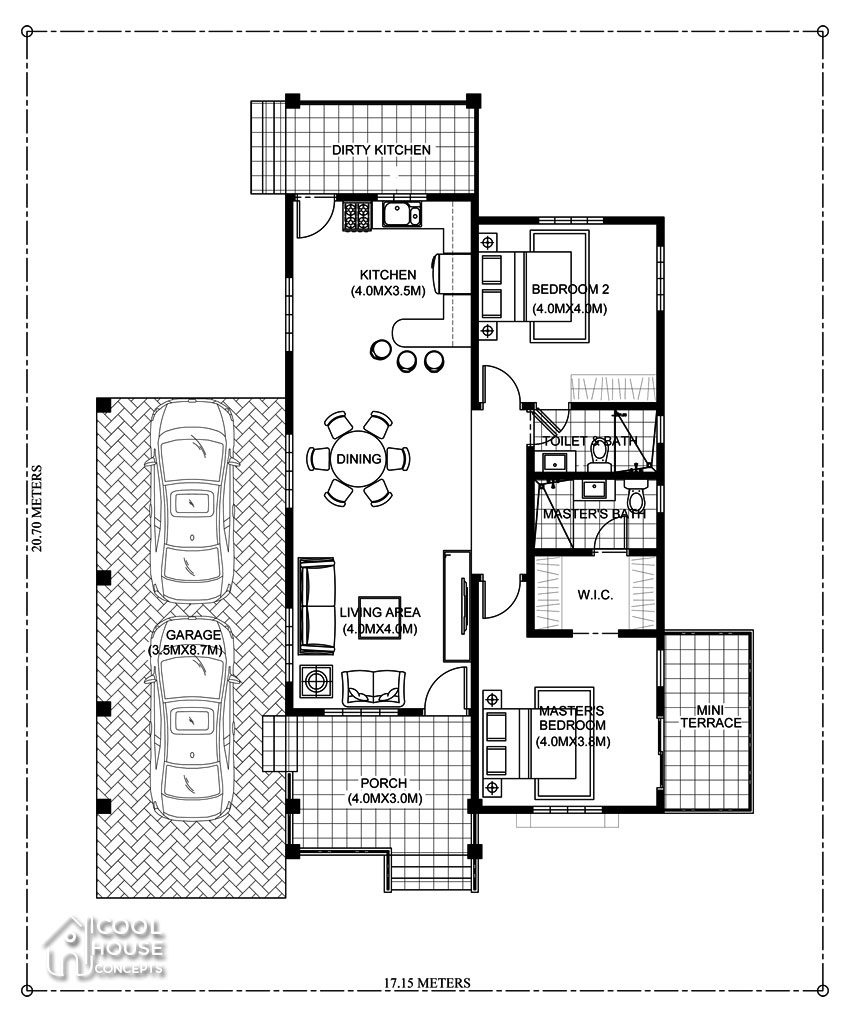 floor plan for 2 bedrooms