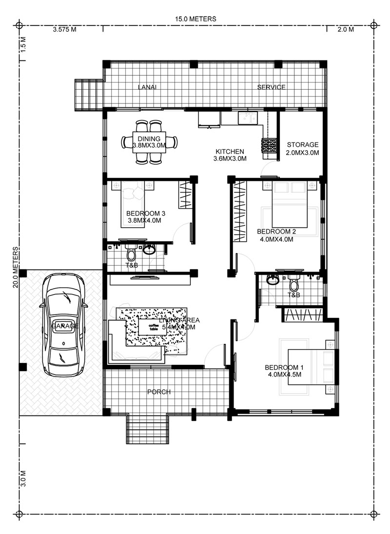 Room Construction Design: Elevated 3 Bedroom House Design