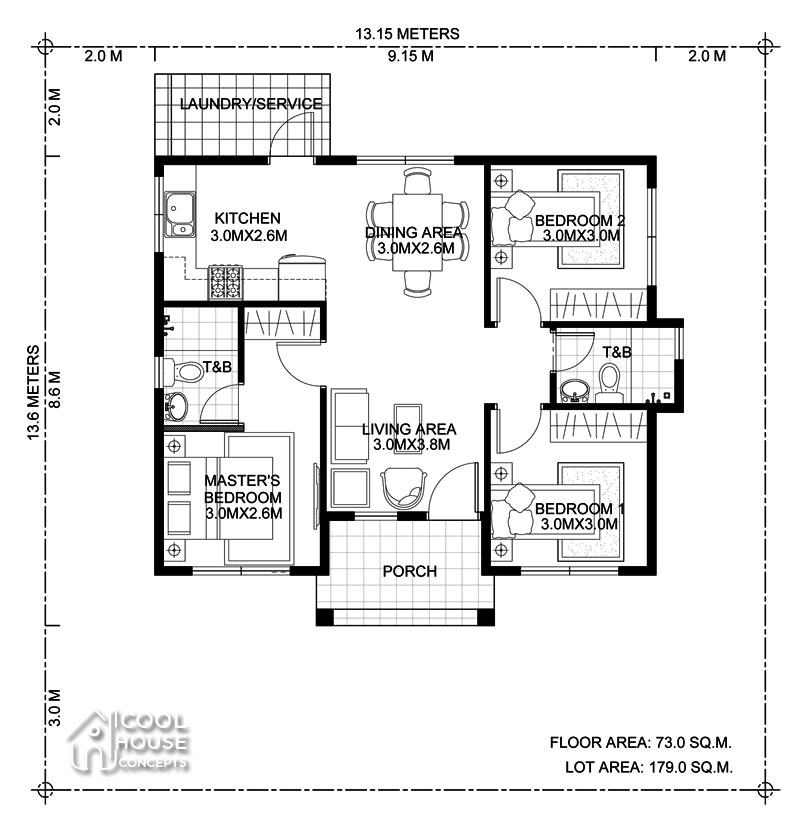 3 Bedroom Bungalow House Plan - Cool House Concepts