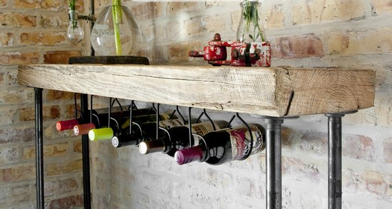 Industrial Reclaimed Wood Console Table With Wine Bar