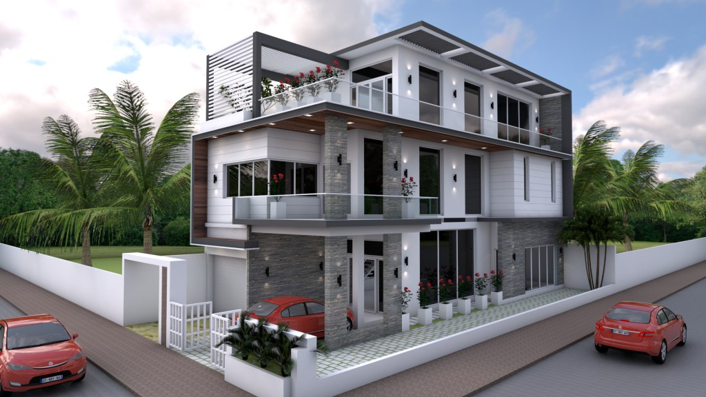 Three Storey House Plan with 4 Bedrooms