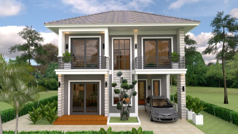 Three Bedroom Two Storey House Plan With 96 Sq M Floor Area Cool House Concepts