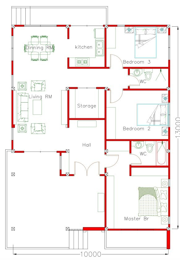 130 Sq m 3 Bedroom House Plan Cool House Concepts