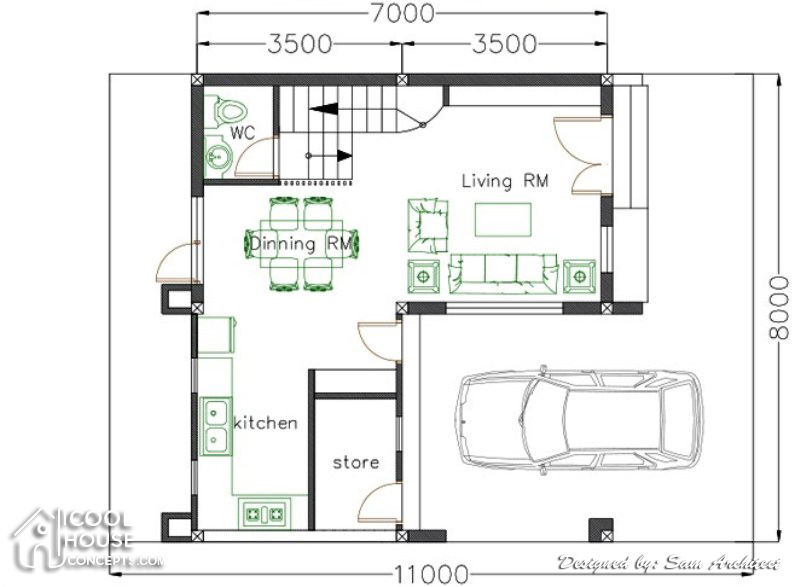 Single Attached Two Storey Concept With 3 Bedrooms Cool