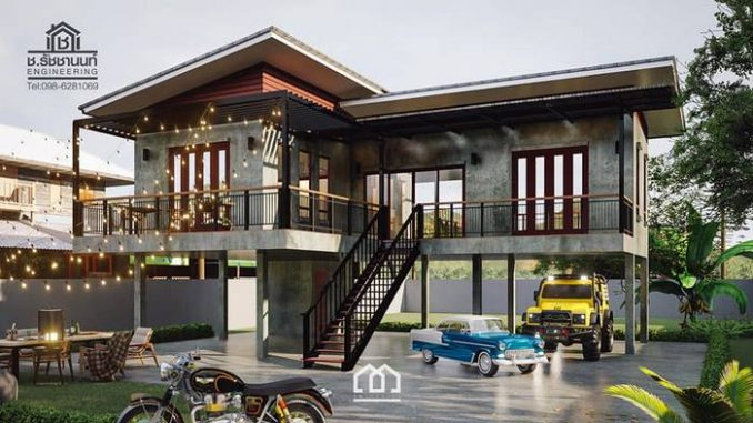 Raised Platform L Shaped House With Two Bedrooms And Spacious Veranda Cool House Concepts