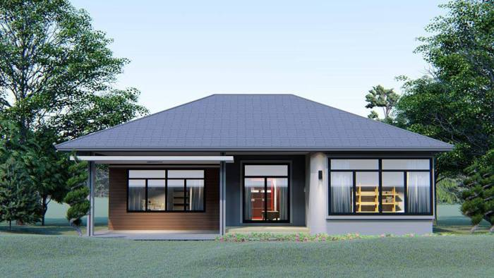Contemporary Bungalow with Extra Large Glass Windows - Cool
