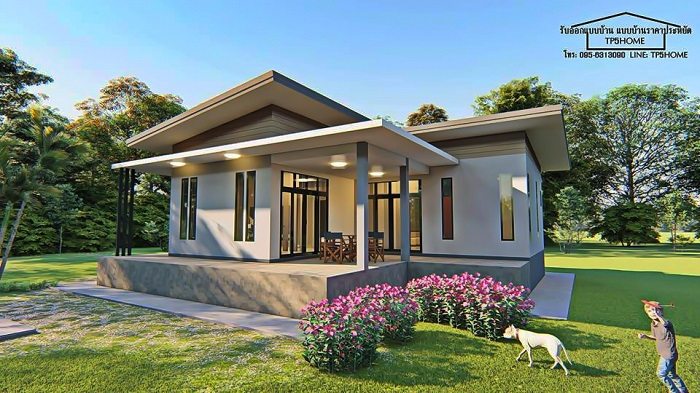 Modern L Shaped Bungalow On A Raised Platform Cool House