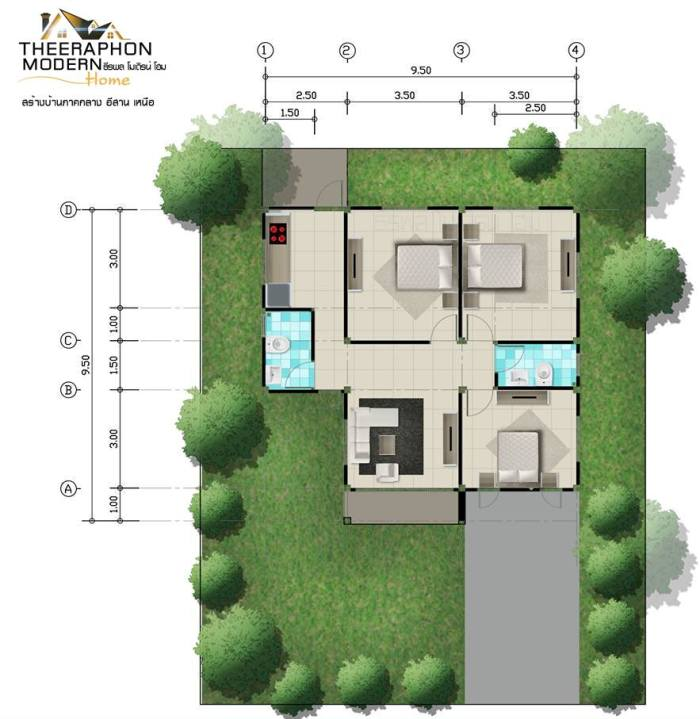Simple Design Of A Three Bedroom Single Storey Cool House