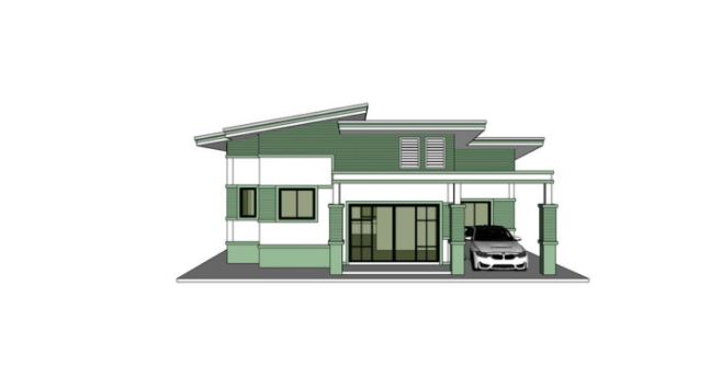 Picture of One Storey Residential House in Green Shade with Glamour