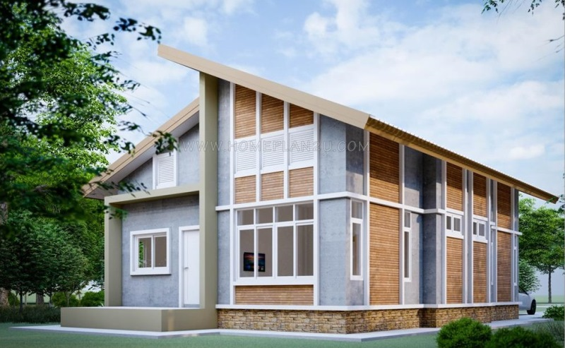 Picture of Unique Cottage House Plan with High Ceiling & Wooden Wall Cladding
